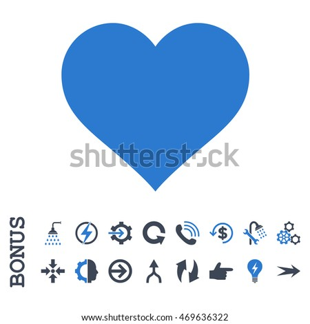 Love Heart vector bicolor icon. Image style is a flat pictogram symbol, smooth blue colors, white background.