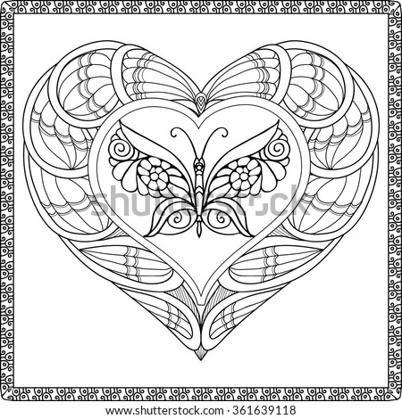 Love Heart Butterfly Coloring Book Adult Stock Vector 361639118 ...