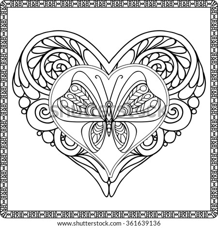 Love Heart with butterfly. Coloring book for adult and older children. Coloring page. Outline drawing. Vector illustration. Decorative, in zentangle style