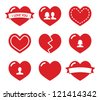 Love hearts icons set for Valentines Day - stock vector