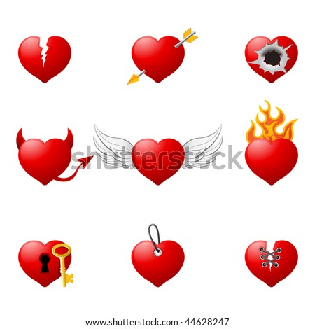 Love hearts, part 2 - stock vector