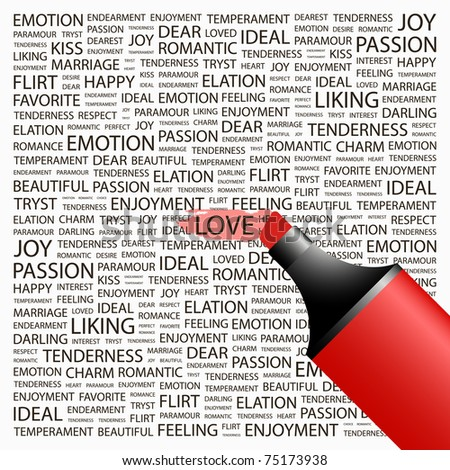 LOVE. Highlighter over background with different association terms. Vector illustration. - stock vector