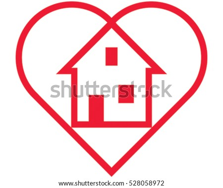Love Home Icon. Vector Illustration Heart and House.