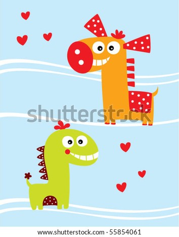 love horse and dinosaur couple - stock vector