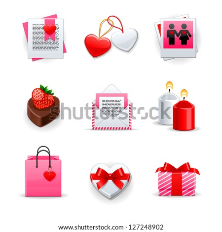 Love Icons set - stock vector