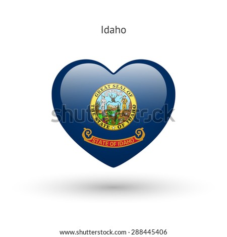 Love Idaho state symbol. Heart flag icon. Vector illustration. - stock vector
