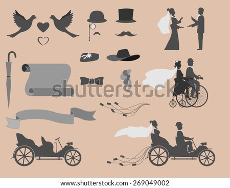 love in all times  set of wedding invitations on the retro bikes and vintage cars, different objects for designers. - stock vector
