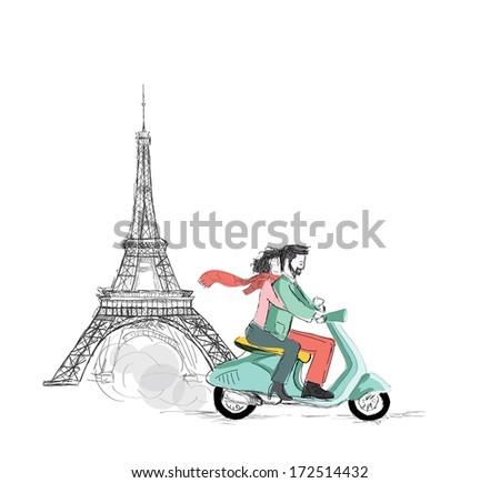 Love in Paris - stock vector