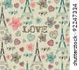love in Paris seamless pattern - stock vector