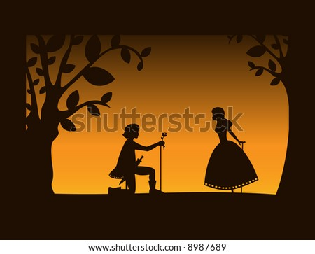 Love in the shadow theater - stock vector