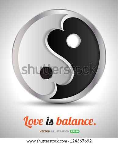 Love is balance/ vector concept for love and health concept / valentine - stock vector