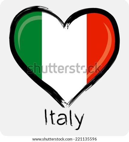 love Italy flag with on grunge