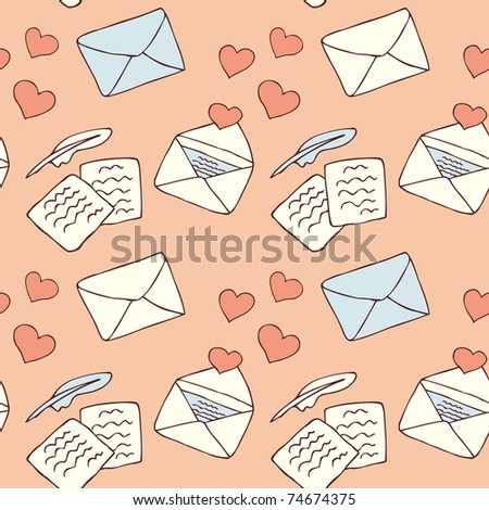 love letter seamless background - stock vector