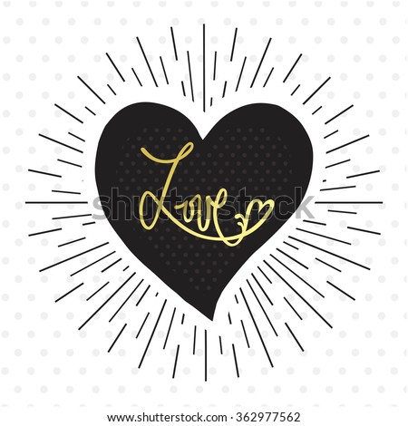 LOVE - lettering made by hand. Template for creating flyer, invitation party, promotional booklet, brochure and banner, romantic card for wedding. - stock vector