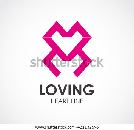 Love line of heart connection abstract vector and logo design.