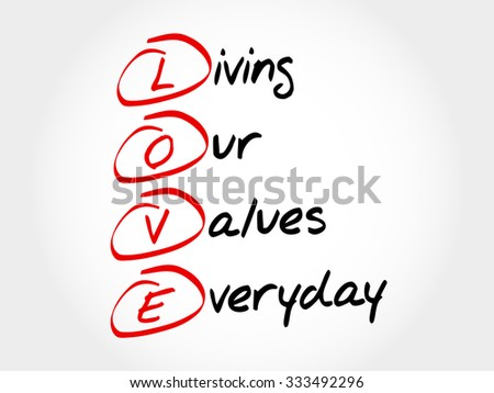 LOVE - Living Our Values Everyday, acronym business concept - stock vector