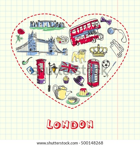 Love london dotted heart filled colored stock vector royalty free dotted heart filled with colored doodles associated with english capital drawn on squared ccuart Images