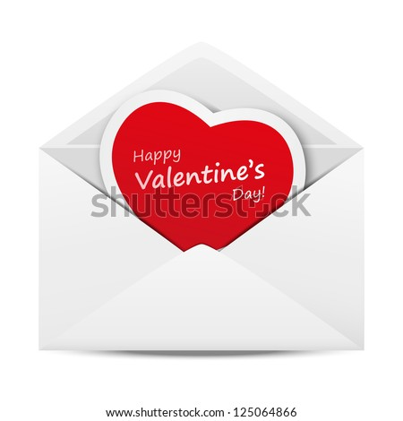 Love mail with Valentine card - stock vector