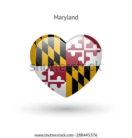 Love Maryland state symbol. Heart flag icon. Vector illustration. - stock vector