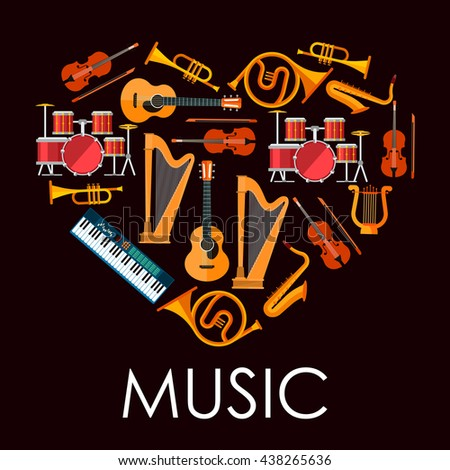 Love music heart icon made up of flat icons of musical instruments. Heart with acoustic guitars and drum kits, violins and saxophones, trumpets and horns, lyre, harps and synthesizer - stock vector