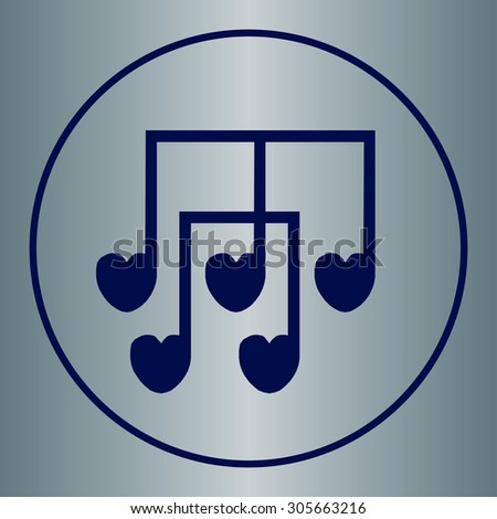 Love music notes icon,  vector illustration. Flat design style. - stock vector