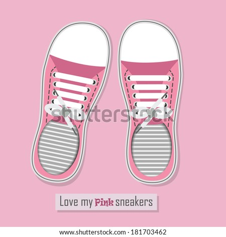 Love my pink sneakers - A pair of pink sneakers with shoelaces on pink background - stock vector