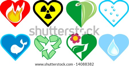 love nature icon set - stock vector