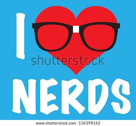 love nerds - stock vector