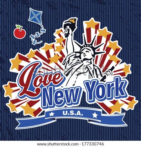 Love New York Sticker - stock vector