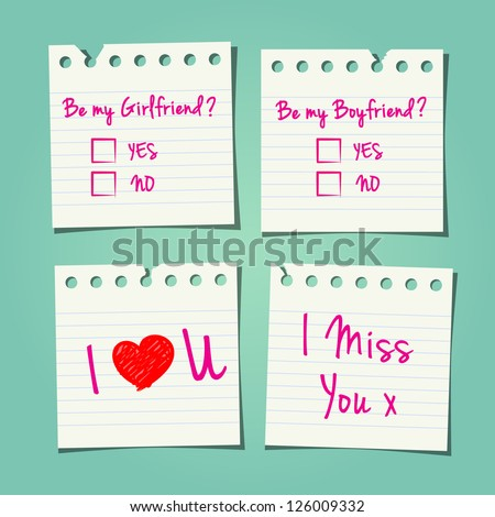 Love Notes A Teenager May Pass In School 1 - stock vector