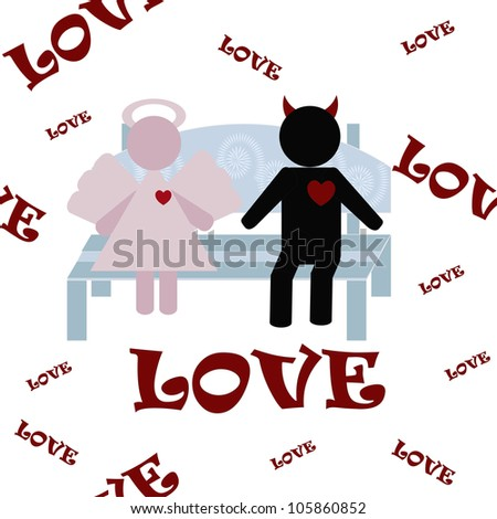 Love of an angel and demon - stock vector