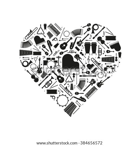 Love of Music Concept Illustration. Variety of musical instruments  silhouettes arranged in heart shape - stock vector