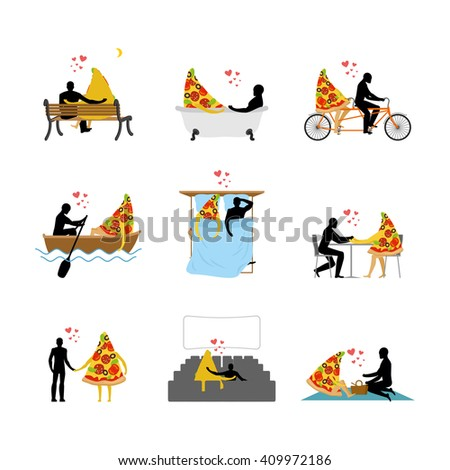 love of pizza set. Man and slice of pizza in movie theater. Lovers in bath. Romantic rendezvous with food. Boating feed. Joint walk. Cycling tandem. Breakfast in cafe. Picnic in park. life gourmet - stock vector