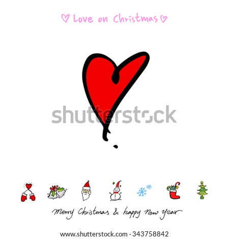 Love on Christmas / Heart illustration / hand drawn in vector - stock vector