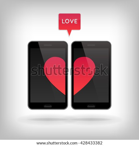 Love on Phone. Vector illustration of smart phones. Happy Valentines Day on Mobile. Phone screen with Hearts. - stock vector