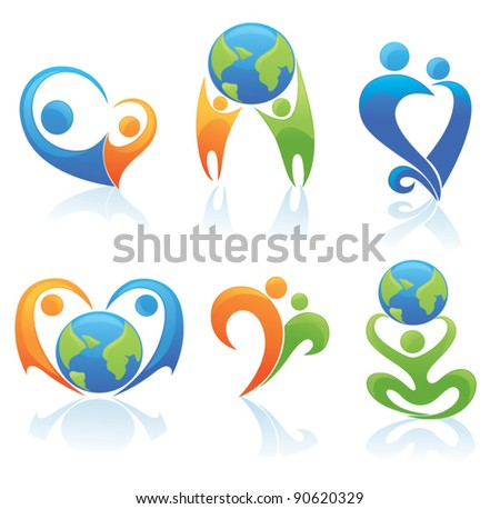 love on the Earth, vector collection of people and globe symbols - stock vector