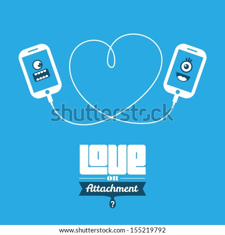 Love or Attachment? Smart phone icon characters. - stock vector