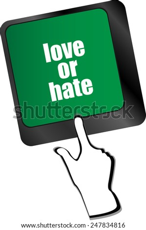 love or hate relationships communication impressions ratings reviews computer keyboard key, - stock vector