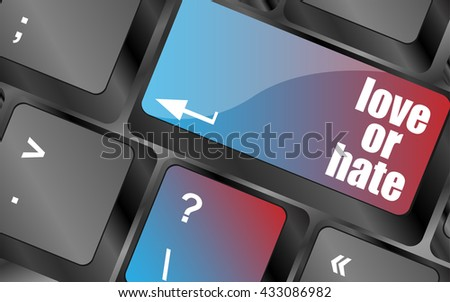 love or hate relationships communication impressions ratings reviews computer keyboard key, keyboard keys, keyboard button, keyboard icon - stock vector