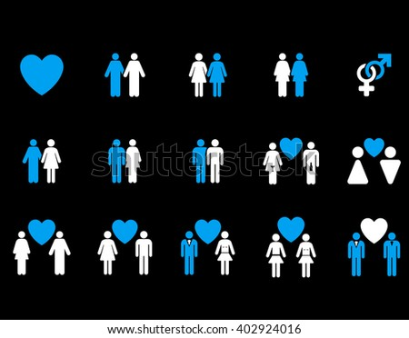 Love Pairs vector icon set. Style is bicolor blue and white flat symbols isolated on a black background.