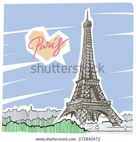 Love Paris hand-draw illustration - stock vector