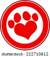 Love Paw Print Red Circle Banner Design. Vector Illustration Isolated on white - stock