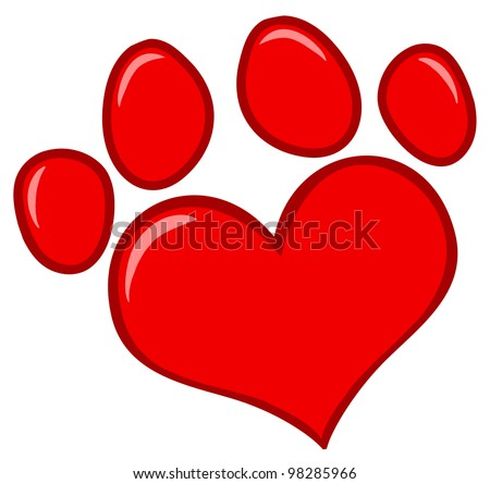 Love Paw Print. Vector Illustration - stock vector