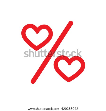 Love percentage. Vector red heart icons. Percentage red web Flat icon in circle on white background - stock vector