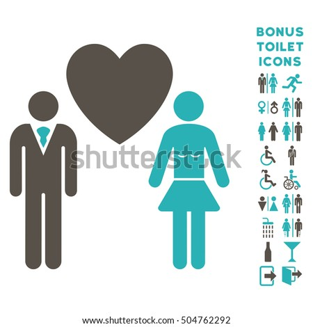 Love Persons icon and bonus man and woman lavatory symbols. Vector illustration style is flat iconic bicolor symbols, grey and cyan colors, white background.