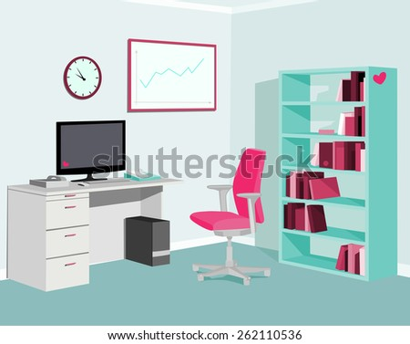 Love Pink Mint Office.Vector illustration - stock vector