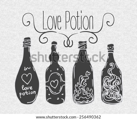 Love potion: bottle jar with pink hearts inside. Card. Vector illustration. Valentine's day concept.  - stock vector