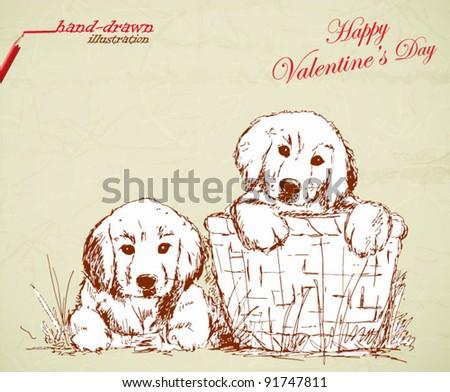 love puppies - valentine's hand-drawn illustration - stock vector