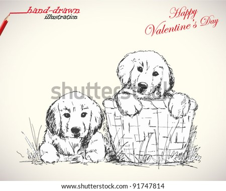 love puppies - valentine's hand-drawn illustration - stock vector