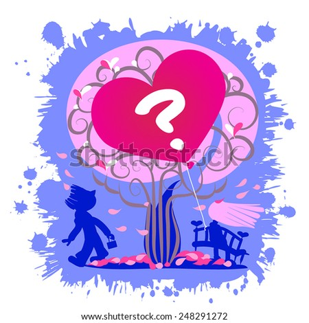 Love question - looking for love -  illustration.Vector silhouettes. Romantic couple, heart as balloon and question symbol. On paint blue blot background.For Valentine day or dating site. - stock vector
